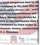 Mencken Quote 7 Canvas Print