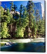 Merced River With The El Capitan Yosemite  National Park California Canvas Print