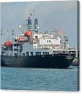 Merchant Marine Training Ship Kennedy And Tugboats Canvas Print