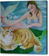 Mermaid And Cat Canvas Print