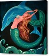 Mermaid And Dolphin  Canvas Print