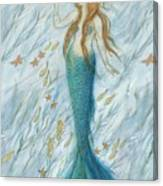 Mermaid And Her Golden Seahorse Canvas Print