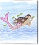 Mermaid And Her Sea Turtle Canvas Print