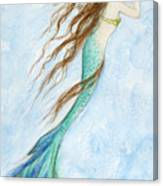 Mermaid And Her Seahorse Canvas Print