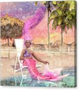 Mermaid By The Sea Canvas Print