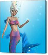 Mermaid In Aqua Canvas Print