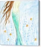 Mermaid In Her Garden Canvas Print