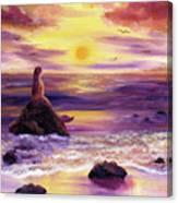Mermaid In Purple Sunset Canvas Print