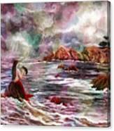 Mermaid In Rainbow Raindrops Canvas Print