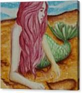 Mermaid On Sand With Heart Canvas Print