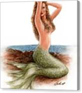 mermaid On The Shore Canvas Print