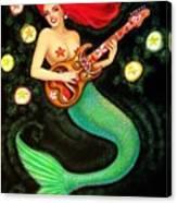 Mermaids Rock Tiki Guitar Canvas Print