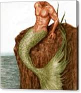 Merman On The Rocks Canvas Print