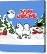 Merry Christmas American Eskimo Dog  Canvas Print