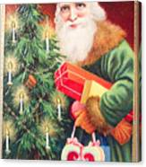 Merry Christmas Santa Delivers Gifts Vintage Card Canvas Print