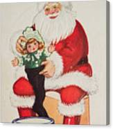Merry Christmas Santa Pulls Doll From His Sack Vintage Card Canvas Print