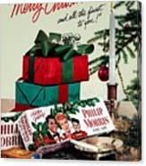 Merry Christmas Vintage Cigarette Advert Canvas Print