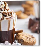 Messy Hot Chocolate, Cream And Marshmallows And A Choc-chip Cook Canvas Print