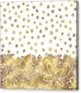 Metallic Gold Floral Flower Swirls Trendy Unique Art By Madart Canvas Print