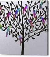 Metallic Parrot Tree Canvas Print