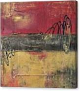 Metallic Square Series I - Red And Gold Urban Abstract Painting Canvas Print