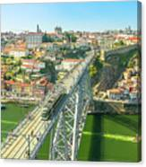 Metro Train Over Porto Bridge Canvas Print