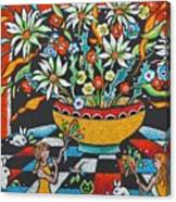 Mexican Vase With Spring Flowers Canvas Print