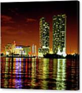 Miami At Night -1 Canvas Print