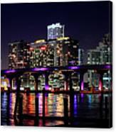 Miami At Night -3 Canvas Print