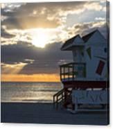 Miami Beach Life Guard House Sunrise 2 Canvas Print