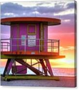 Miami Beach Round Life Guard House Sunrise Canvas Print