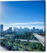 Miami Florida City Skyline And Streets Canvas Print