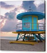 Miami Lifeguard Cabin At Sunrise Canvas Print