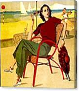 Miami, Woman On The Beach Under Sunshade Canvas Print
