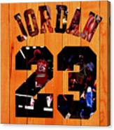 Michael Jordan Wood Art 1a Canvas Print