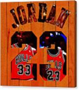 Michael Jordan Wood Art 1b Canvas Print