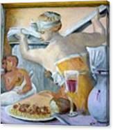 Michaelangelo's Lybian Sybil With Dinner Canvas Print