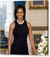 Michelle Obama 1964-, In Her Official Canvas Print