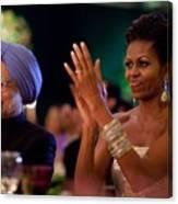 Michelle Obama Applauds Canvas Print