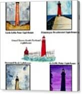 Michigan Lighthouses Montage Canvas Print
