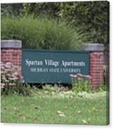 Michigan State University Spartan Village Signage Canvas Print
