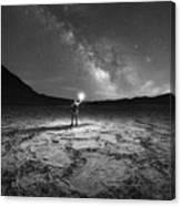 Midnight Explorer At Badwater Basin Bw Canvas Print