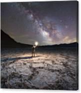 Midnight Explorer At Badwater Basin  Canvas Print