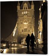 Midnight Stroll Over The Bridge Canvas Print