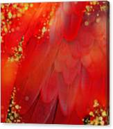 Midsummer Magik Fantasy Abstract Red Feathers, Gold Sparkles Canvas Print