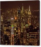 Midtown Manhattan Skyline Aerial At Night Canvas Print