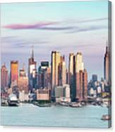 Midtown Manhattan Skyline At Sunset, New York City, Usa Canvas Print