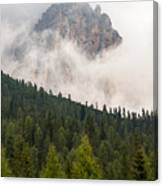 Mighty Dolomite Peaking Through The Clouds Canvas Print
