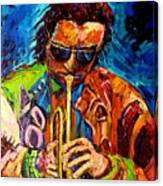 Miles Davis Hot Jazz Portraits By Carole Spandau Canvas Print