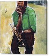 Miles Davis With Green Shirt Canvas Print